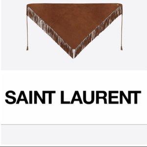 NWT Saint Laurent Paris Brown Suede Scarf